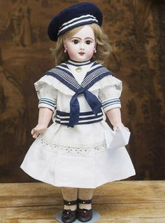 "20in (51cm) Rare Antique French Jumeau bebe Doll with rare Depose sleep eyes, walking body and rare ""D""  mark"