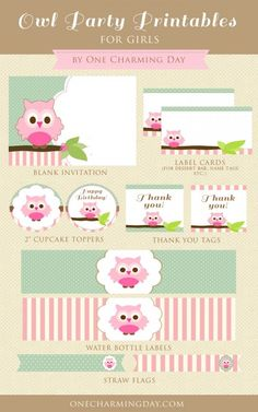 Free Owl Party Printables Set for Girls - set includes, blank owl invitation cards, owl cupcake toppers, blank label cards, water bottle labels, thank you tags and straw flags.