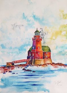 """Porkkala Light House"", aquarell on paper, 31x41cm, 2016"