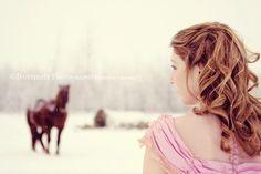 soft curls, snow, horse