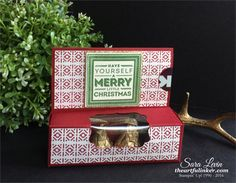 Sara Levin | theartfulinker.com Handmade Christmas gift card and candy holder.  Features Holly Jolly Layers ( Stampin' Up! ) and Hersheys Deluxe Kisses.  Click for details!