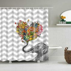 Cute Cat Printed Shower Curtain Cartoon Animal Polyester Fabric Bath Curtain for Bathroom Curtain Decoration Shower Curtains Cat Shower Curtain, Elephant Pattern, Bathroom Curtains, Shower Curtains, Wooden House, Christmas Items, Picture Sizes, Bathroom Faucets, Shower Heads
