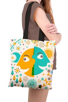 Tote Bag with Colourful Retro Style Day Night by SamOsborneStore