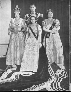 The Royal Family on the Coronation day of Queen Elizabeth II - Queen Elizabeth II, Prince Phillip, Elizabeth the Queen Mother, with Princess Margaret in front.