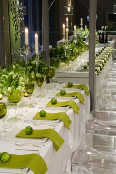 White and lime table