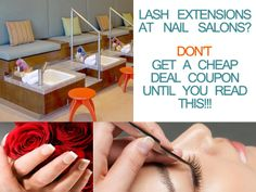 Thinking of getting faux or authentic Siberian mink eyelash extensions at your local nail salon or wanna purchase a cheap coupon deal online? DON'T even think about it until you read THIS to help you avoid a bad or unsafe eyelash extensions application! Wanna save $$$ by getting eyelash extensions at a nail salon using a cheap coupon deal??? DON'T even think about it until you read THIS article. #eyelashextensions #beautysalons #deals #lashes Local Nail Salons, Mink Lash Extensions, Mink Eyelashes, Girly Things, Coupon, Spa, Business, Beauty, Girl Things