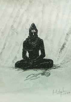 Lord Shiva Statue, Lord Shiva Pics, Lord Shiva Family, Shiva Art, Shiva Shakti, Hindu Art, Shiva Sketch, Mythology Paintings, Saraswati Goddess