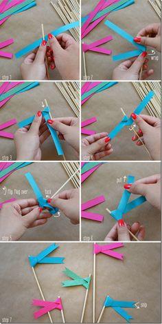 DIY ribbon flags