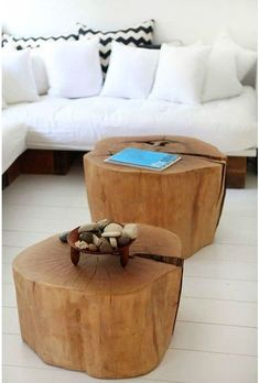 Warming up to the idea of tree stump tables. What a good footrest!