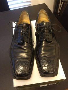 Mezlan Shoes In Calfskin & Genuine Crocodile, Made In Spain $650.00 #Mezlan #WingTip