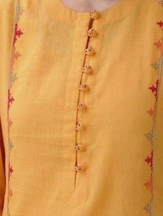 Mustard Hand-Embroidered Cotton Mul Kurta with Slip (Set of 2 Punjabi Suit Neck Designs, Salwar Neck Designs, Churidar Designs, Kurta Neck Design, Neck Designs For Suits, Sleeves Designs For Dresses, Neckline Designs, Kurta Designs Women, Dress Neck Designs