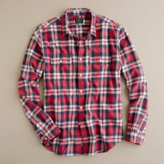 Men's Brown Wallace & Barnes Heavyweight Flannel Shirt in ...