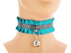 Turquoise silver, kitten play collar, ddlg collar, pet play collar, pastel, kawaii, lolita, neko girl, kittenplay, puppy, bdsm collar B3