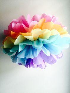 1 Unicorn Fairy Rainbow Pom, Tissue Paper Pom Pom, Rainbow Theme Party, Unicorn Party, Whimsical Party, Rainbow Weddind Decor    INCLUDES:  1