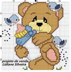 Baby Cross Stitch Patterns, Cross Stitch For Kids, Cross Stitch Kitchen, Cute Cross Stitch, Cross Stitch Charts, Cross Stitch Designs, Cross Stitching, Cross Stitch Embroidery, Teddy Bear Crafts
