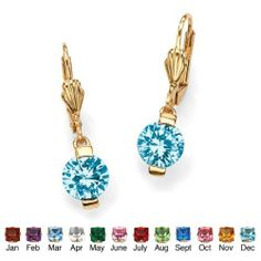 Round Birthstone Drop Pierced Earrings in 18k Gold-Plated- December- Simulated Blue Topaz Palm Beach Jewelry. $19.99