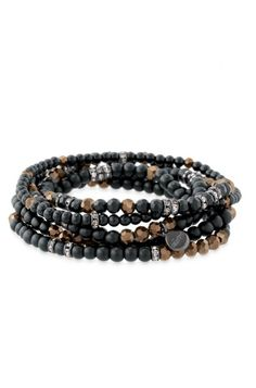 Stella & Dot Odeon bracelets - matte black beads with rondelle accents and hematite stones add subtle sparkle.
