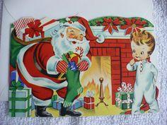 LD- VINTAGE MERRY CHRISTMAS CARD SANTA (A SUNSHINE CARD USA) (#16195)