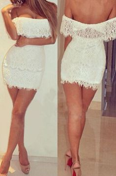 New Ropa Mujer Sexy Off The Shoulder Korean Style Women Party White Lace Mini Dresses Summer Cute Vestido Branco Renda (Mainland)) White Lace Mini Dress, Lace Dress, Cute Dresses, Short Dresses, Mini Club Dresses, Summer Dresses For Women, Buy Dress, Club Outfits, Night Outfits