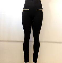 #legging #negro #cintura alta con #cierres #dorados