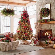 Decorate your indoor and outdoor space in verdant style with Christmas wreaths and garlands from Frontgate. Shop individual pieces and sets for effortless holiday decor. Christmas Door Wreaths, Diy Christmas Tree, Christmas Decorations, Country Christmas, Christmas Mantels, Victorian Christmas, Christmas Scenery, Traditional Christmas Tree, Christmas Fireplace