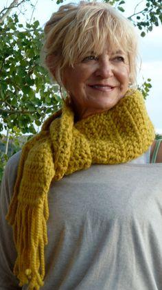 Scarf Crochet Yellow by hatsbyanne1942 on Etsy, $45.00