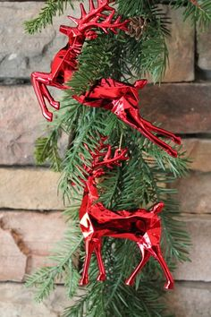 """6"""" RED REINDEER ORNAMENT, with shimmering diamond cut finish will add elegance and beauty to your Christmas tree. 