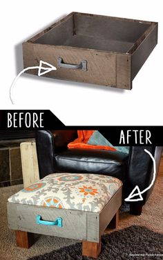 DIY Furniture Hacks Foot Rest from Old Drawers Cool Ideas for Creative Do It Yourself Furniture Cheap Home Decor Ideas for Bedroom, Bathroom, Living Room, Kitchen. Diy Furniture Cheap, Diy Furniture Hacks, Refurbished Furniture, Repurposed Furniture, Furniture Projects, Furniture Makeover, Diy Projects, Home Decor Furniture, Furniture Stores