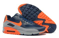https://www.sportskorbilligt.se/  1767 : Nike Air Max 90 Herr Dam Herr Deep Blå Orange Grå SE932862haIgW