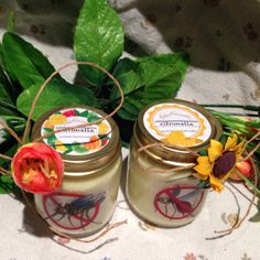 🐝🌼🍋vasetti alla citronella anti zanzare #citronella #lemongrass #soywax #essentialoils #jar #etsy #handmade