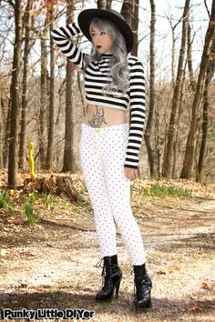 Polka dots and stripes outfit, white polka dot jeans, stripe crop top, wide brim fedora, stiletto boots, gray hair, granny hair