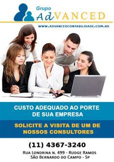 Advanced Contabilidade - Custo adequado ao porte de sua empresa , solicite a visita de um de nossos consultores (11) 4367-3240 Rua Londrina n. 499 - Rudge Ramos  São Bernardo do Campo - SP