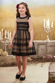 Girls Ebony Lace Panel Dress: #Chasingfireflies $69.99