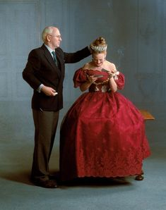 Queen Margrethe getting ready for a photo shot.