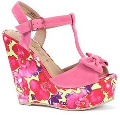 ShopStyle: Pink Floral Bow Wedge Heels