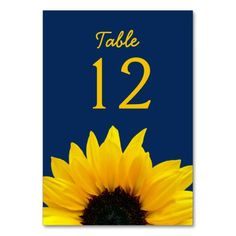 Yellow Sunflower Flower Navy Blue Wedding Table Cards