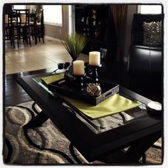 Coffee table decor . . . like the pop of color under the tray!