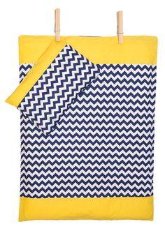 Bettwäscheset - Chevron dunkelblau mit gelb von KraftKids auf DaWanda.com