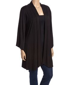 ~~pinned from site directly~~ . . . Another great find on #zulily! Black Kimono - Plus #zulilyfinds