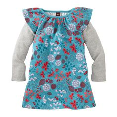 Blue Floral & Layered Dress for Girls | Tea Collection. My girls love these dresses! !!