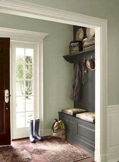 Wall color is Wedgewood Gray, built-in is Kendall Charcoal and trim is Floral White. All Benjamin Moore paint/colors. For the mudroom/back hall? My New Room, House Painting, Painting Walls, Painting Doors, Bathroom Paintings, Interior Painting, Painting Tips, Painting Techniques, Wall Painting Colors