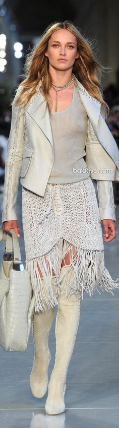 Oh - love it all! boots, purse, fringed skirt, jacket. Salvatore Ferragamo Pre Spring 2013 Collection
