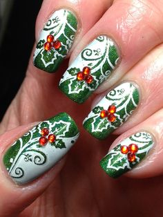 Holiday #nailart #nails #holly #christmas