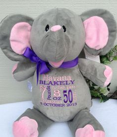 Monogrammed Baby Gift Personalized Elephant by WorldClassEmbroidery, $39.99