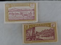 2 Stamps from Cameroon French Colony Cameoun 1c and 4 c Chiffre Taxe, 1920s Era Africa
