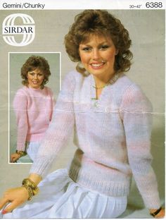 "vintage ladies chunky sweaters knitting pattern PDF womens v or round neck jumper 30-42"" chunky bulky 12ply Instant Download by Hobohooks on Etsy"