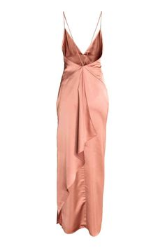 Long satin dress: Long satin dress with narrow shoulder straps that continue down the back, a V-neck with an inset section at the front, a low-cut, draped back, concealed zip in the side and slit in one side. Satin lining.