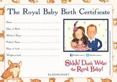 The Royal Baby Birth Certificate! (Shhh! Don't Wake the Royal baby!)