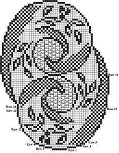 Схема ниже как раз в центральной части содержит эти самые М-образные элементы филейного узора. То есть это элементы, которые нарушают ровные квадраты сетки. Чтобы задать еще один оттенок фона.