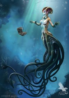 Drawn mermaid mythical creature - pin to your gallery. Explore what was found for the drawn mermaid mythical creature 3d Fantasy, Fantasy Kunst, Fantasy World, Magical Creatures, Sea Creatures, Creation Art, Mermaids And Mermen, Sea Monsters, Creature Design